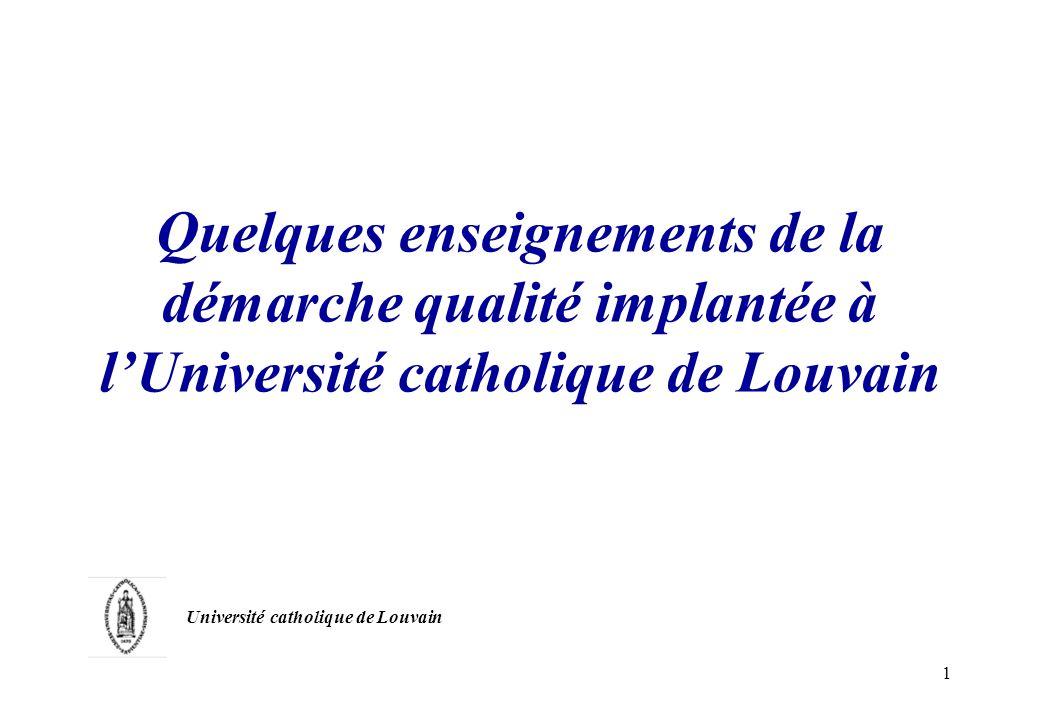 1 Quelques enseignements de la démarche qualité implantée à lUniversité catholique de Louvain Université catholique de Louvain