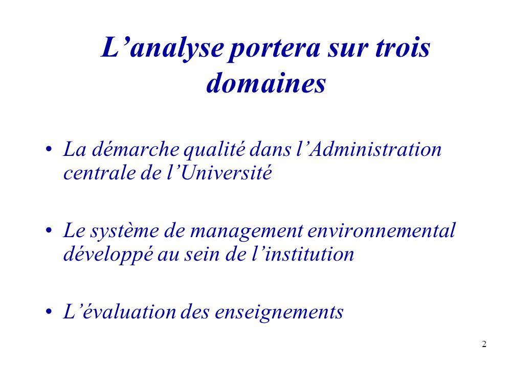 2 Lanalyse portera sur trois domaines La démarche qualité dans lAdministration centrale de lUniversité Le système de management environnemental dévelo