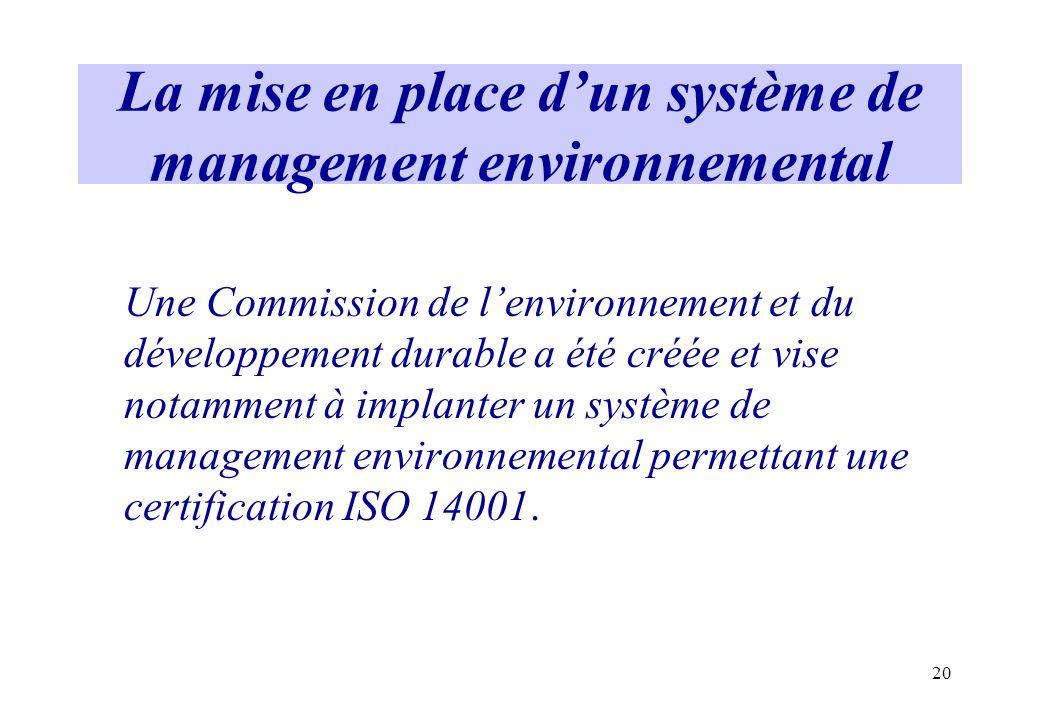 20 La mise en place dun système de management environnemental Une Commission de lenvironnement et du développement durable a été créée et vise notamme