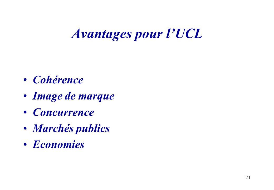 21 Avantages pour lUCL Cohérence Image de marque Concurrence Marchés publics Economies