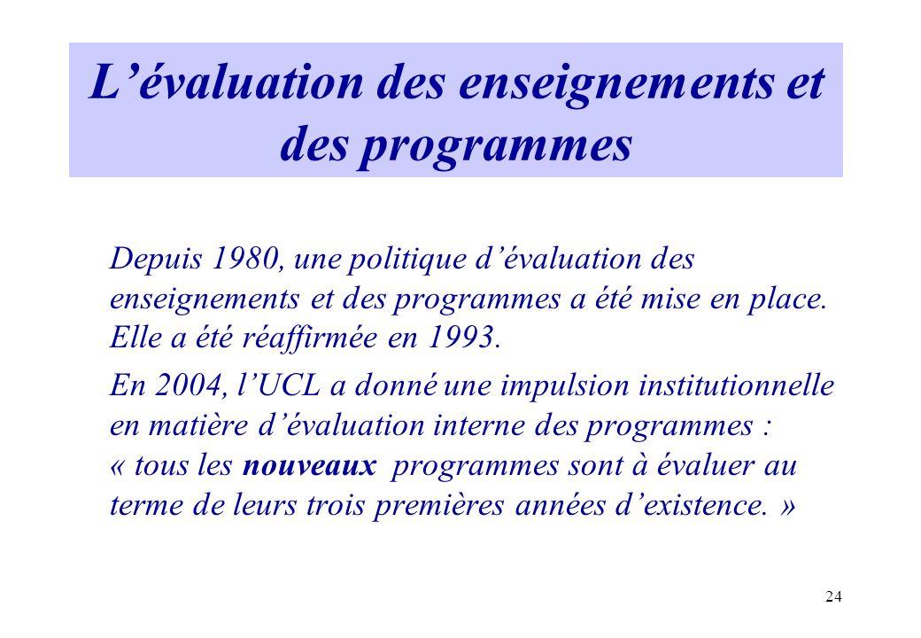 24 Lévaluation des enseignements et des programmes Depuis 1980, une politique dévaluation des enseignements et des programmes a été mise en place. Ell