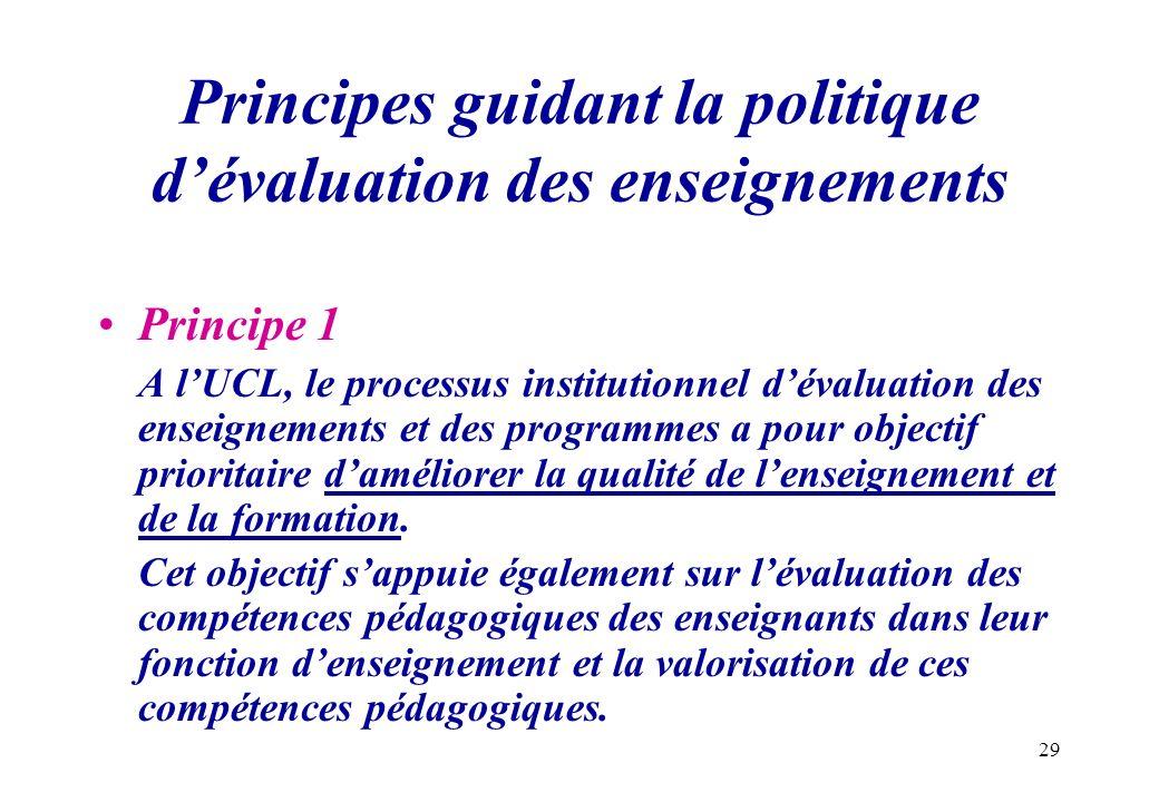 29 Principes guidant la politique dévaluation des enseignements Principe 1 A lUCL, le processus institutionnel dévaluation des enseignements et des pr