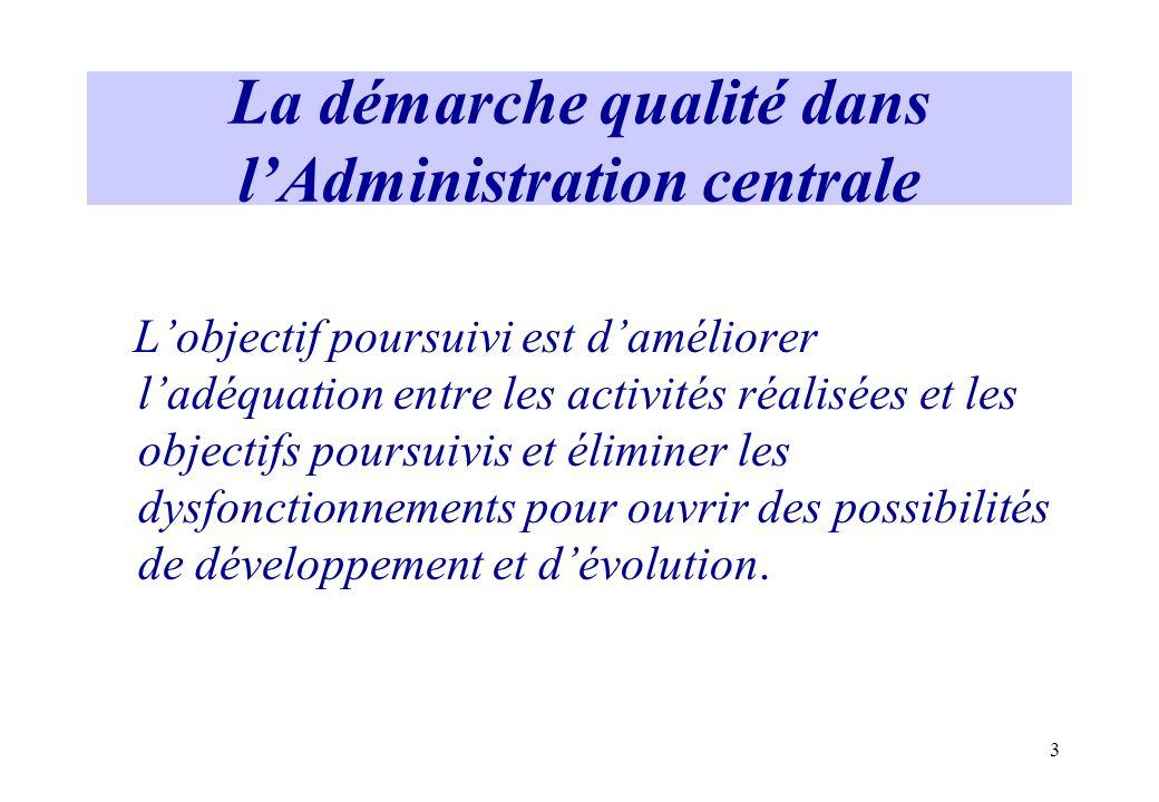 3 La démarche qualité dans lAdministration centrale Lobjectif poursuivi est daméliorer ladéquation entre les activités réalisées et les objectifs pour