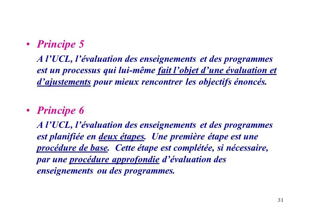 31 Principe 5 A lUCL, lévaluation des enseignements et des programmes est un processus qui lui-même fait lobjet dune évaluation et dajustements pour m