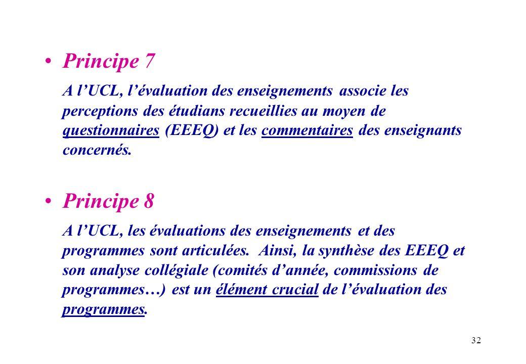 32 Principe 7 A lUCL, lévaluation des enseignements associe les perceptions des étudians recueillies au moyen de questionnaires (EEEQ) et les commenta