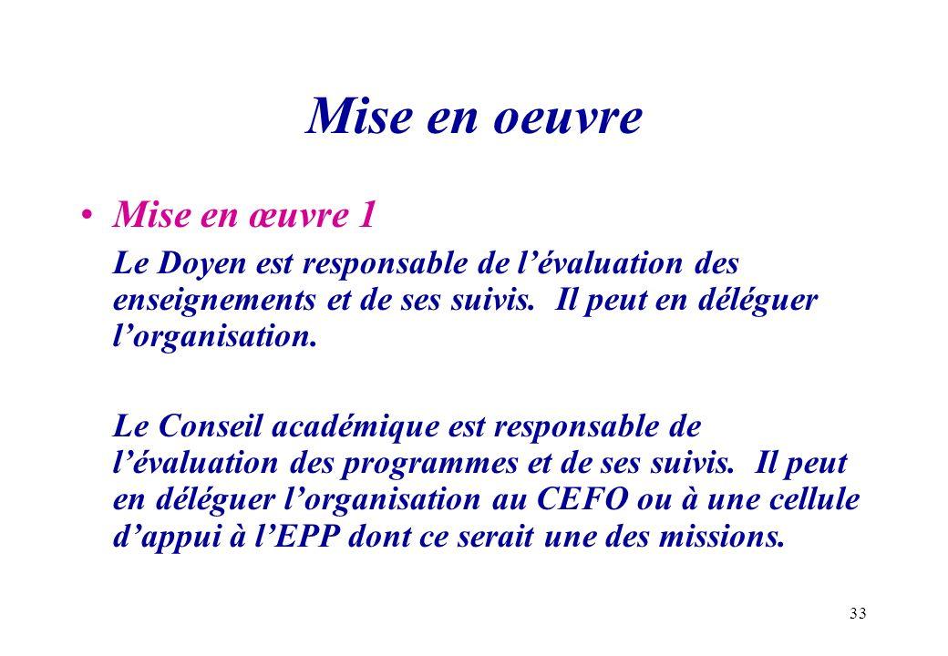 33 Mise en oeuvre Mise en œuvre 1 Le Doyen est responsable de lévaluation des enseignements et de ses suivis. Il peut en déléguer lorganisation. Le Co