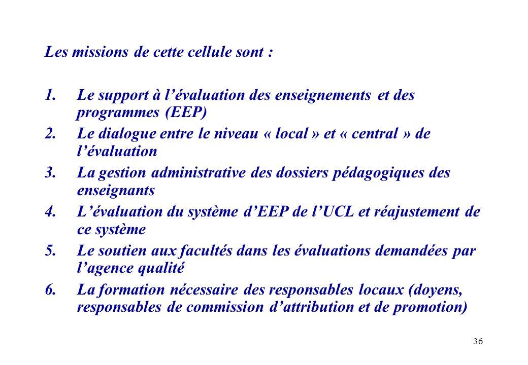 36 Les missions de cette cellule sont : 1.Le support à lévaluation des enseignements et des programmes (EEP) 2.Le dialogue entre le niveau « local » e