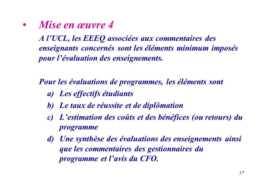 37 Mise en œuvre 4 A lUCL, les EEEQ associées aux commentaires des enseignants concernés sont les éléments minimum imposés pour lévaluation des enseig