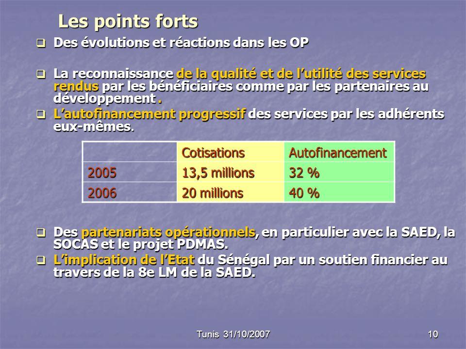 Tunis 31/10/200710 Les points forts Des évolutions et réactions dans les OP Des évolutions et réactions dans les OP La reconnaissance de la qualité et de lutilité des services rendus par les bénéficiaires comme par les partenaires au développement.