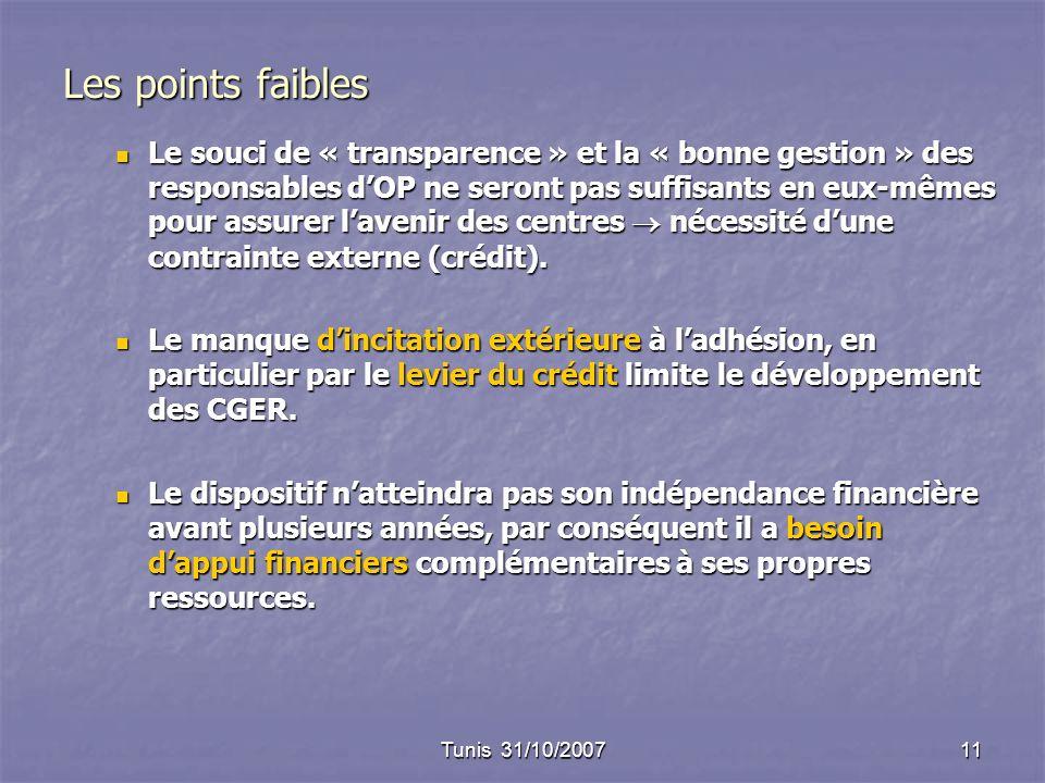 Tunis 31/10/200711 Les points faibles Le souci de « transparence » et la « bonne gestion » des responsables dOP ne seront pas suffisants en eux-mêmes pour assurer lavenir des centres nécessité dune contrainte externe (crédit).