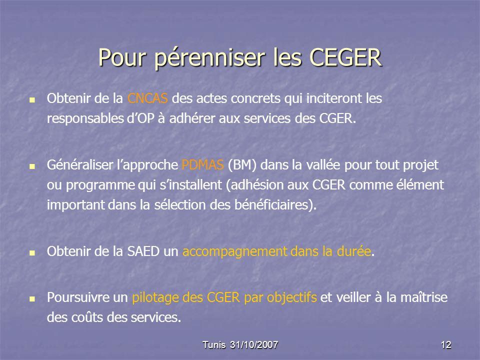 Tunis 31/10/200712 Pour pérenniser les CEGER Obtenir de la CNCAS des actes concrets qui inciteront les responsables dOP à adhérer aux services des CGE