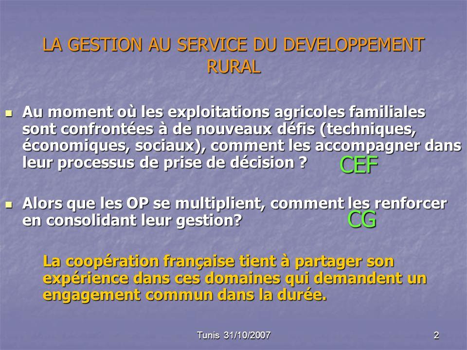 Tunis 31/10/20072 LA GESTION AU SERVICE DU DEVELOPPEMENT RURAL Au moment où les exploitations agricoles familiales sont confrontées à de nouveaux défis (techniques, économiques, sociaux), comment les accompagner dans leur processus de prise de décision .