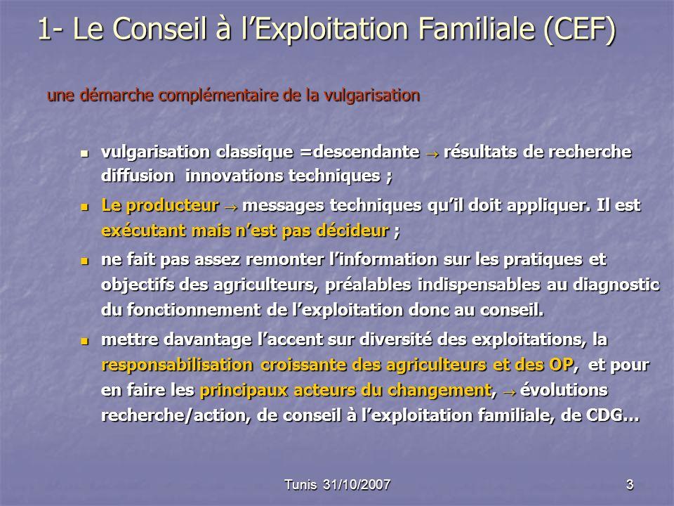 Tunis 31/10/20073 1- Le Conseil à lExploitation Familiale (CEF) une démarche complémentaire de la vulgarisation vulgarisation classique =descendante r