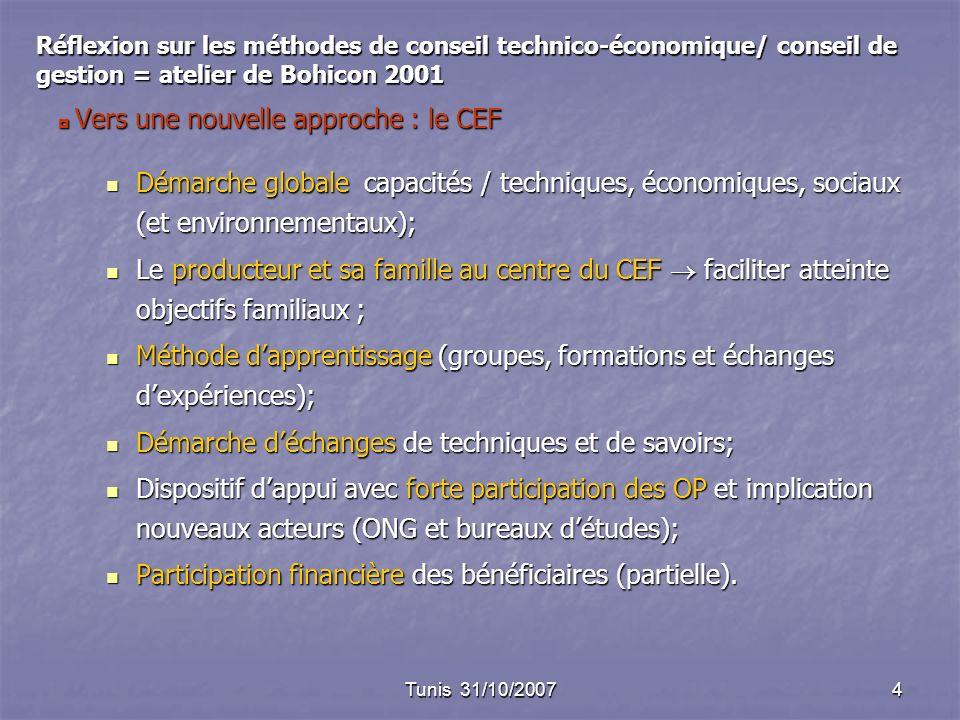Tunis 31/10/20074 Vers une nouvelle approche : le CEF Vers une nouvelle approche : le CEF Démarche globale capacités / techniques, économiques, sociaux (et environnementaux); Démarche globale capacités / techniques, économiques, sociaux (et environnementaux); Le producteur et sa famille au centre du CEF faciliter atteinte objectifs familiaux ; Le producteur et sa famille au centre du CEF faciliter atteinte objectifs familiaux ; Méthode dapprentissage (groupes, formations et échanges dexpériences); Méthode dapprentissage (groupes, formations et échanges dexpériences); Démarche déchanges de techniques et de savoirs; Démarche déchanges de techniques et de savoirs; Dispositif dappui avec forte participation des OP et implication nouveaux acteurs (ONG et bureaux détudes); Dispositif dappui avec forte participation des OP et implication nouveaux acteurs (ONG et bureaux détudes); Participation financière des bénéficiaires (partielle).