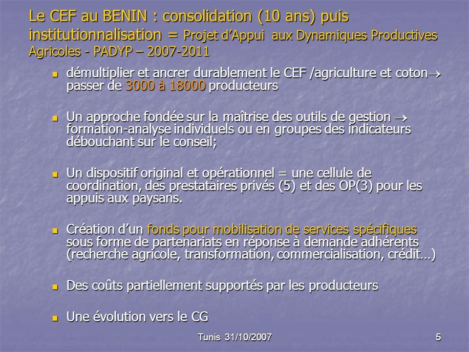 Tunis 31/10/20075 Le CEF au BENIN : consolidation (10 ans) puis institutionnalisation = Projet dAppui aux Dynamiques Productives Agricoles - PADYP – 2