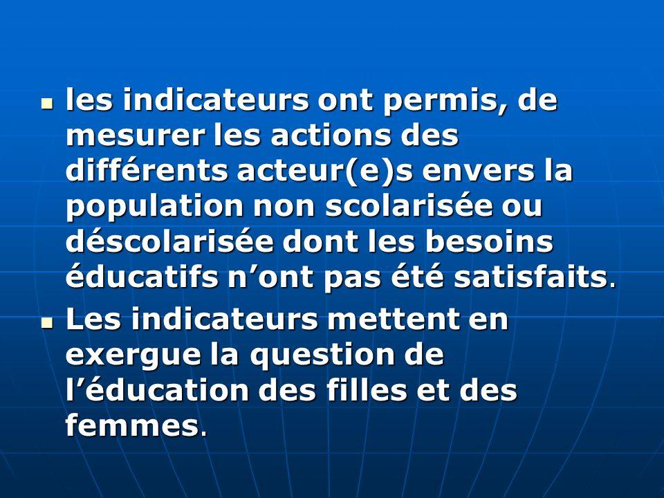 les indicateurs ont permis, de mesurer les actions des différents acteur(e)s envers la population non scolarisée ou déscolarisée dont les besoins éducatifs nont pas été satisfaits.