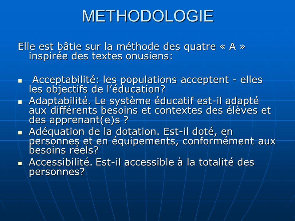METHODOLOGIE Elle est bâtie sur la méthode des quatre « A » inspirée des textes onusiens: Acceptabilité: les populations acceptent - elles les objectifs de léducation.
