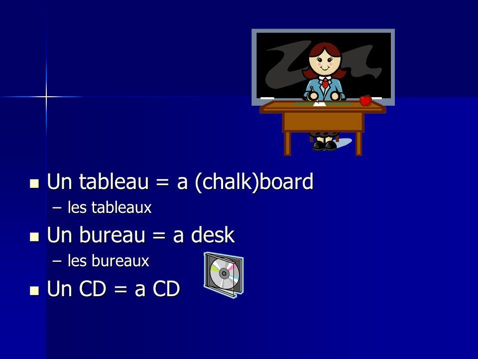 Un tableau = a (chalk)board Un tableau = a (chalk)board –les tableaux Un bureau = a desk Un bureau = a desk –les bureaux Un CD = a CD Un CD = a CD