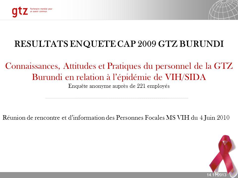14.11.2013 Seite 1 RESULTATS ENQUETE CAP 2009 GTZ BURUNDI Connaissances, Attitudes et Pratiques du personnel de la GTZ Burundi en relation à lépidémie