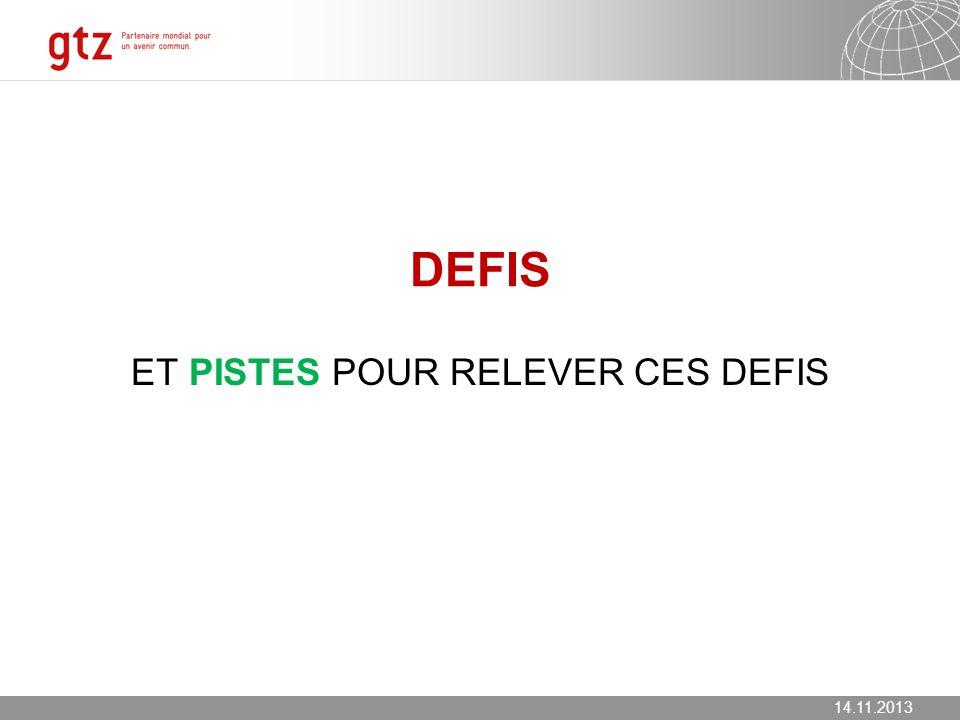 14.11.2013 Seite 17 DEFIS ET PISTES POUR RELEVER CES DEFIS 14.11.2013