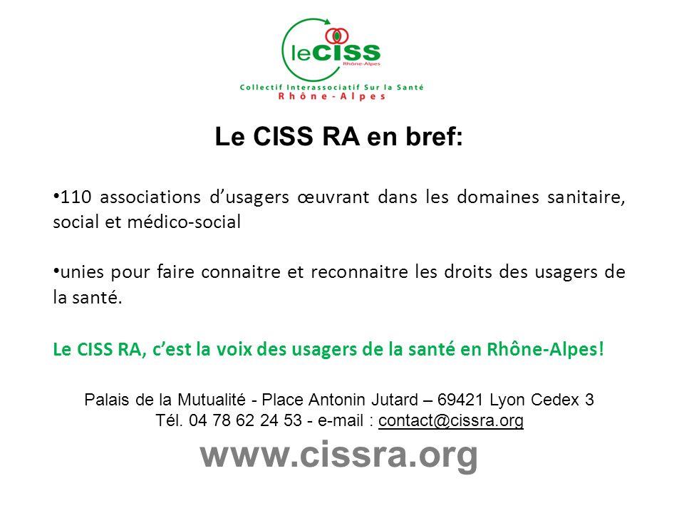 Le CISS RA en bref: 110 associations dusagers œuvrant dans les domaines sanitaire, social et médico-social unies pour faire connaitre et reconnaitre les droits des usagers de la santé.