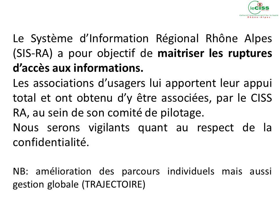 Le Système dInformation Régional Rhône Alpes (SIS-RA) a pour objectif de maitriser les ruptures daccès aux informations.