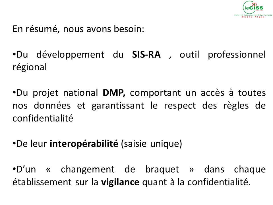 En résumé, nous avons besoin: Du développement du SIS-RA, outil professionnel régional Du projet national DMP, comportant un accès à toutes nos données et garantissant le respect des règles de confidentialité De leur interopérabilité (saisie unique) Dun « changement de braquet » dans chaque établissement sur la vigilance quant à la confidentialité.