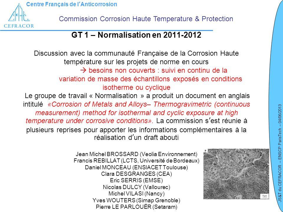 Centre Français de lAnticorrosion JS&T du CEFRACOR – ENSCP ParisTech – 04/06/2013 GT 1 – Normalisation en 2011-2012 Discussion avec la communauté Fran