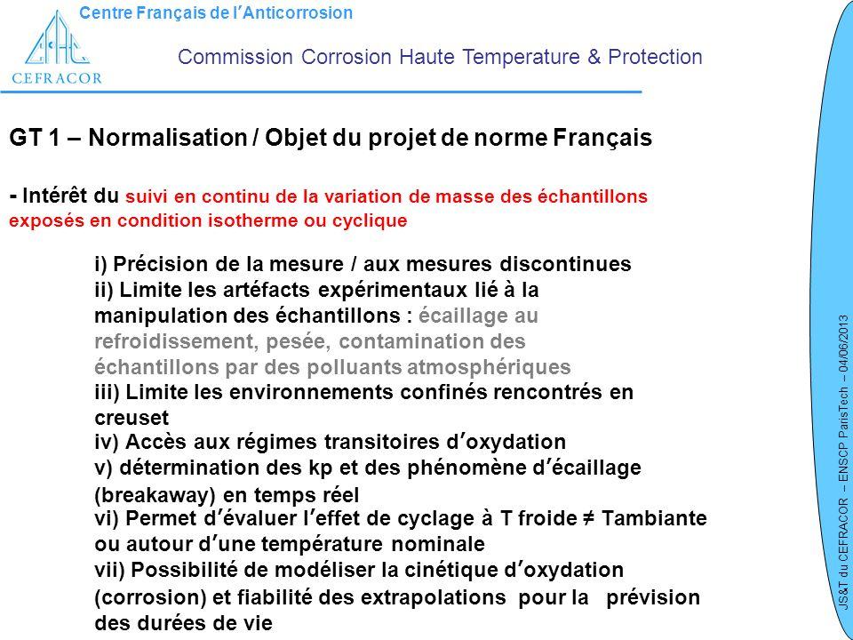 Centre Français de lAnticorrosion JS&T du CEFRACOR – ENSCP ParisTech – 04/06/2013 GT 1 – Normalisation / Objet du projet de norme Français - Intérêt d
