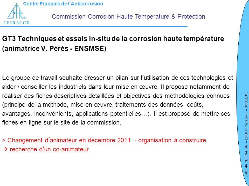 Centre Français de lAnticorrosion JS&T du CEFRACOR – ENSCP ParisTech – 04/06/2013 GT3 Techniques et essais in-situ de la corrosion haute température (