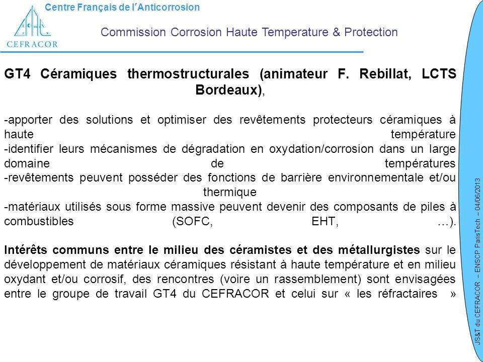 Centre Français de lAnticorrosion JS&T du CEFRACOR – ENSCP ParisTech – 04/06/2013 GT4 Céramiques thermostructurales (animateur F. Rebillat, LCTS Borde