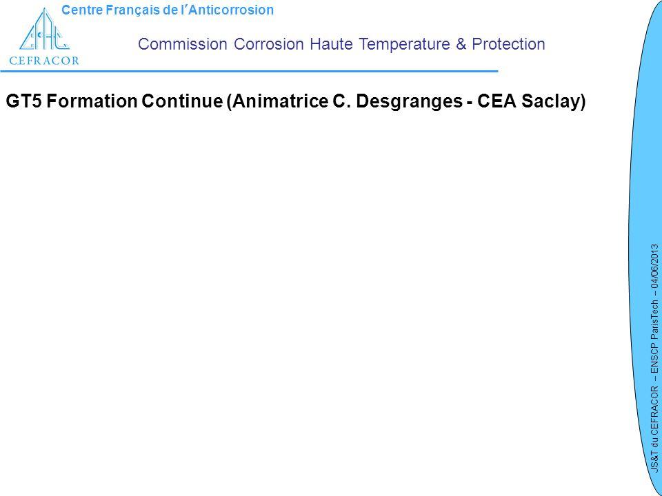 Centre Français de lAnticorrosion JS&T du CEFRACOR – ENSCP ParisTech – 04/06/2013 GT5 Formation Continue (Animatrice C. Desgranges - CEA Saclay) Commi