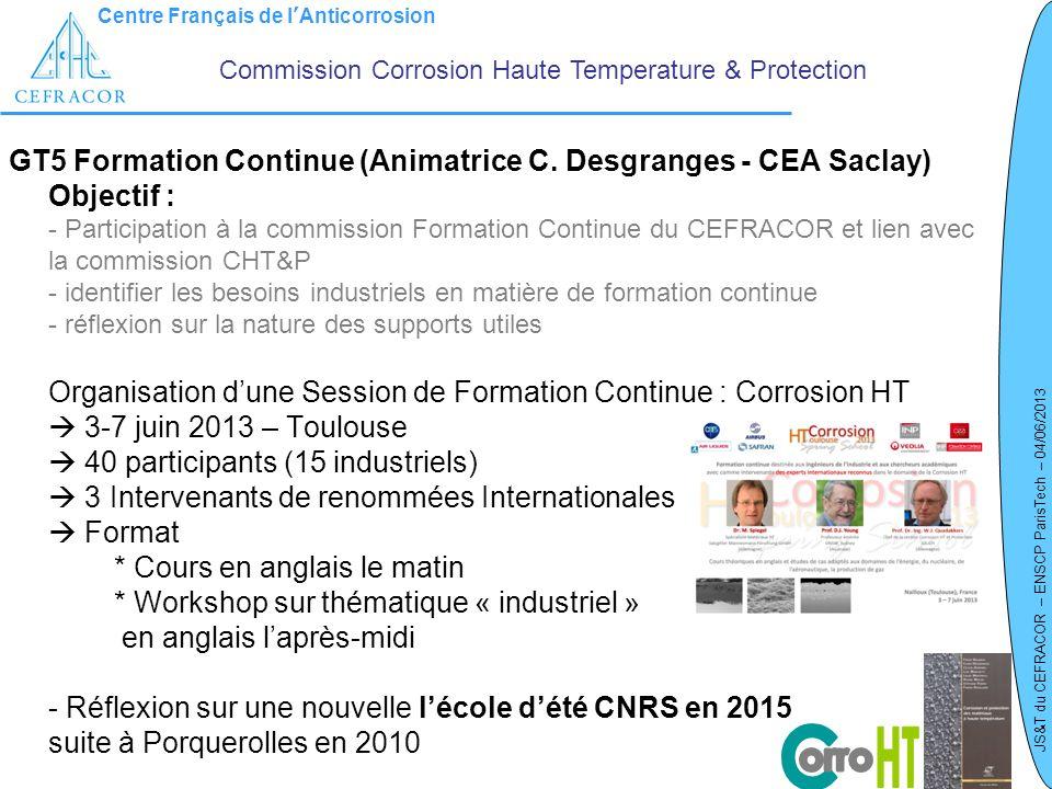 Centre Français de lAnticorrosion JS&T du CEFRACOR – ENSCP ParisTech – 04/06/2013 GT5 Formation Continue (Animatrice C. Desgranges - CEA Saclay) Objec