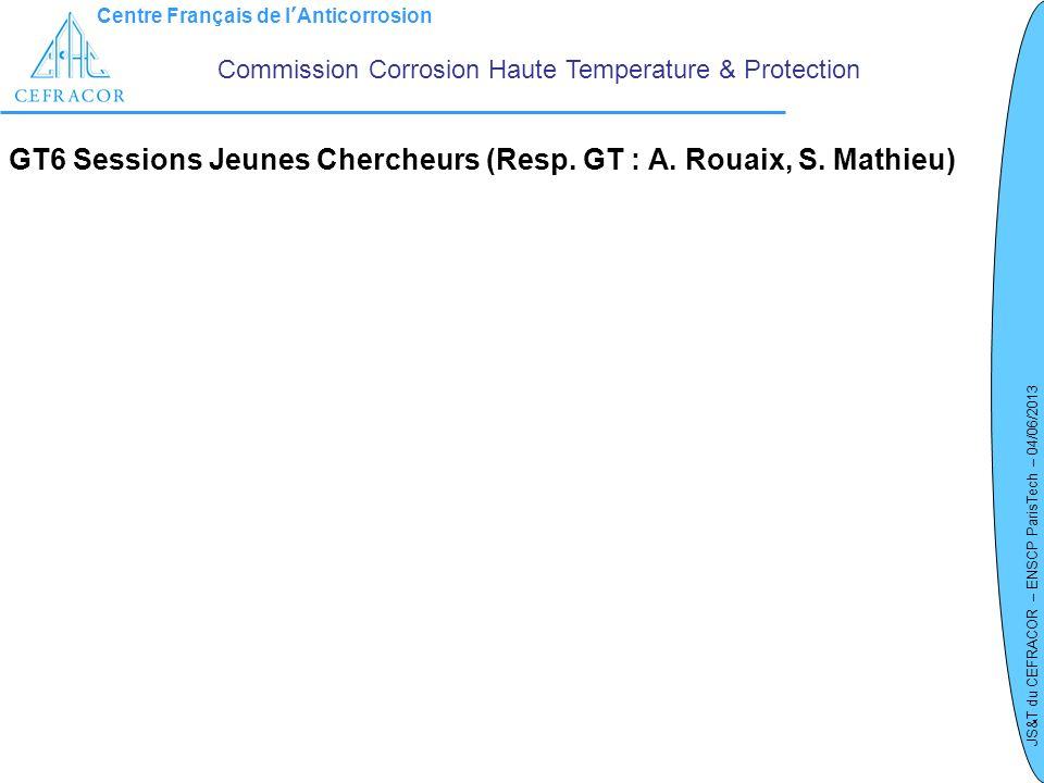 Centre Français de lAnticorrosion JS&T du CEFRACOR – ENSCP ParisTech – 04/06/2013 GT6 Sessions Jeunes Chercheurs (Resp. GT : A. Rouaix, S. Mathieu) Co