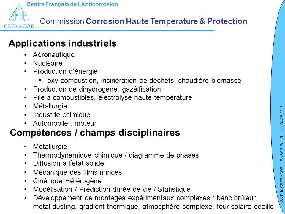 Centre Français de lAnticorrosion JS&T du CEFRACOR – ENSCP ParisTech – 04/06/2013 Commission Corrosion Haute Temperature & Protection Applications ind