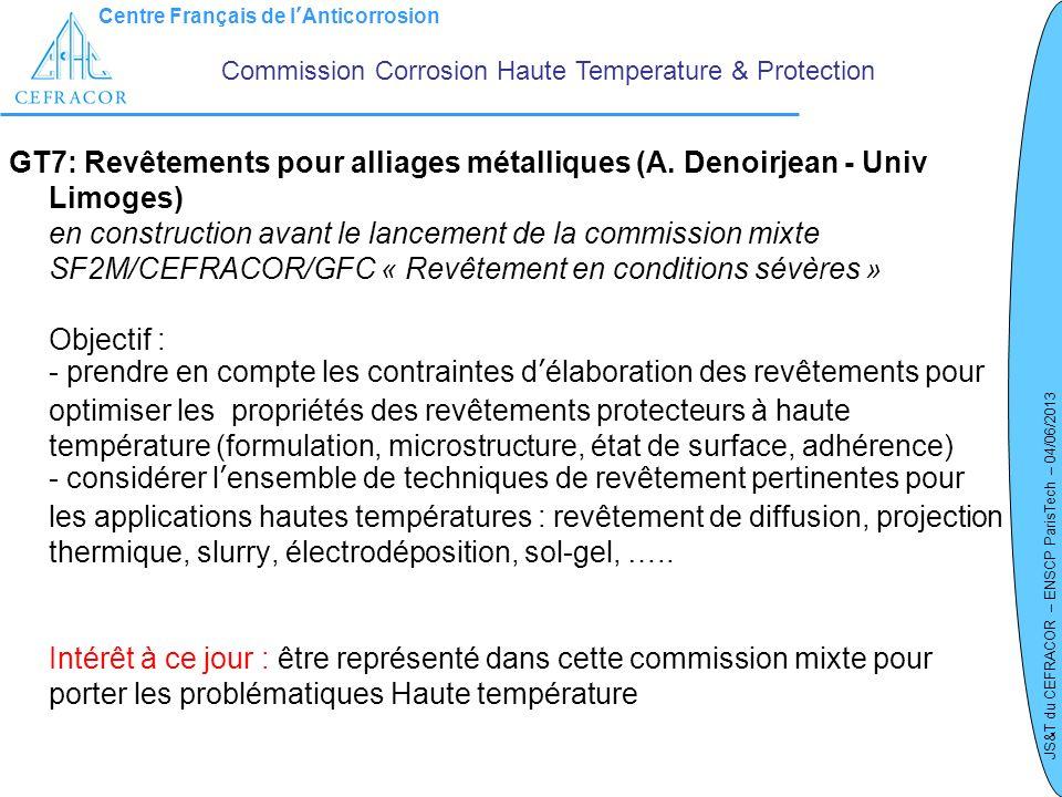 Centre Français de lAnticorrosion JS&T du CEFRACOR – ENSCP ParisTech – 04/06/2013 GT7: Revêtements pour alliages métalliques (A. Denoirjean - Univ Lim