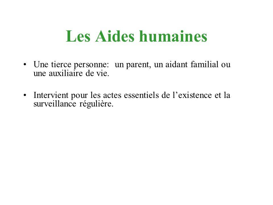 Les Aides humaines Une tierce personne: un parent, un aidant familial ou une auxiliaire de vie. Intervient pour les actes essentiels de lexistence et