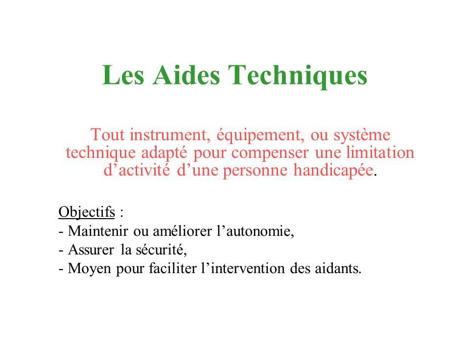 Les Aides Techniques Tout instrument, équipement, ou système technique adapté pour compenser une limitation dactivité dune personne handicapée. Object