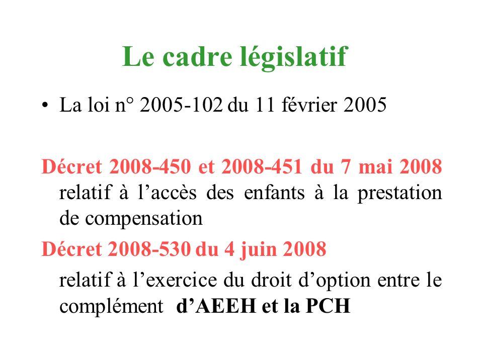 Le cadre législatif La loi n° 2005-102 du 11 février 2005 Décret 2008-450 et 2008-451 du 7 mai 2008 relatif à laccès des enfants à la prestation de co
