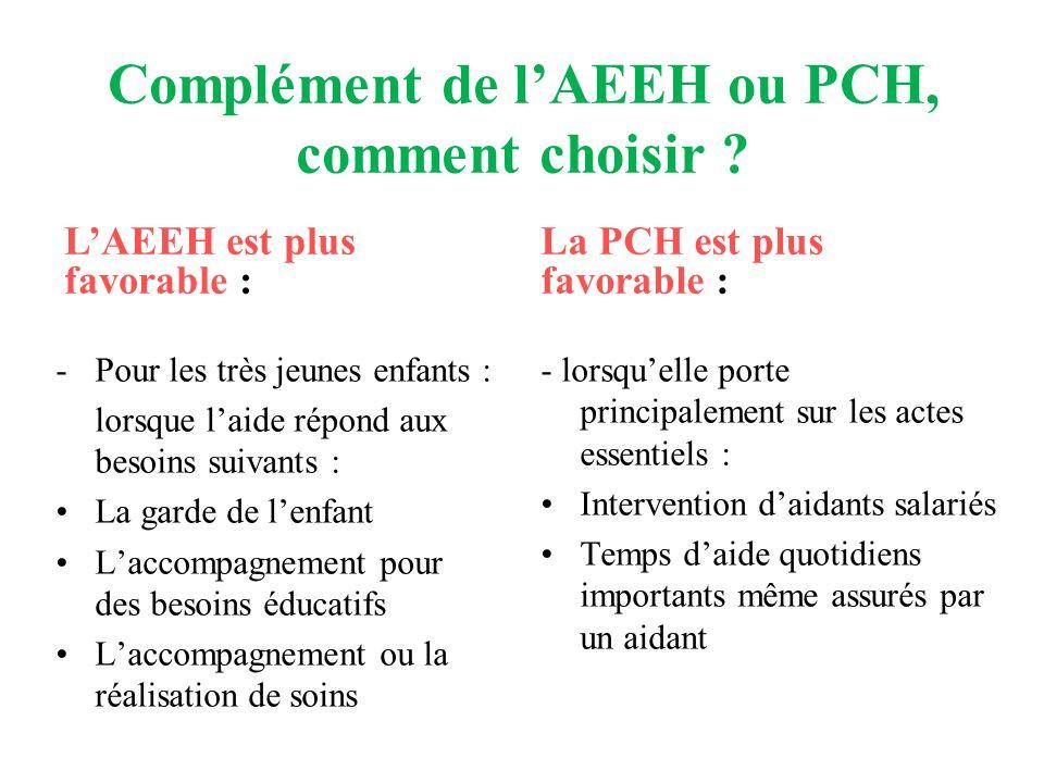 Complément de lAEEH ou PCH, comment choisir ? -Pour les très jeunes enfants : lorsque laide répond aux besoins suivants : La garde de lenfant Laccompa
