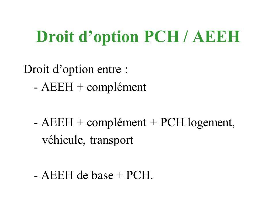 Droit doption PCH / AEEH Droit doption entre : - AEEH + complément - AEEH + complément + PCH logement, véhicule, transport - AEEH de base + PCH.