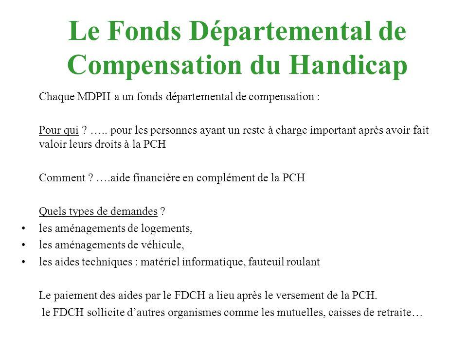 Le Fonds Départemental de Compensation du Handicap Chaque MDPH a un fonds départemental de compensation : Pour qui ? ….. pour les personnes ayant un r