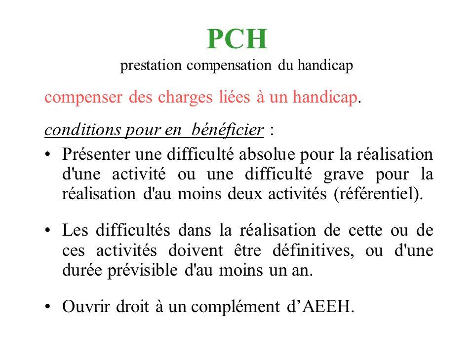 PCH prestation compensation du handicap compenser des charges liées à un handicap. conditions pour en bénéficier : Présenter une difficulté absolue po
