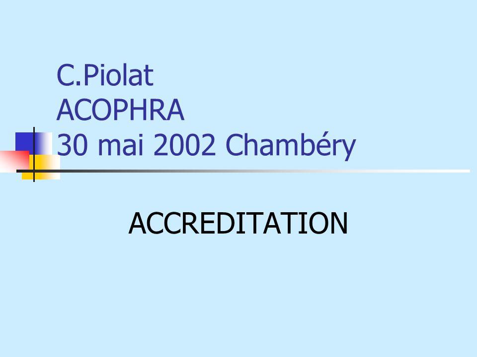 C.Piolat ACOPHRA 30 mai 2002 Chambéry ACCREDITATION
