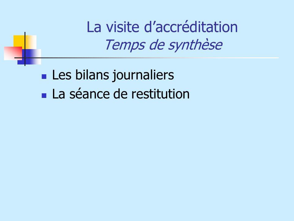La visite daccréditation Temps de synthèse Les bilans journaliers La séance de restitution