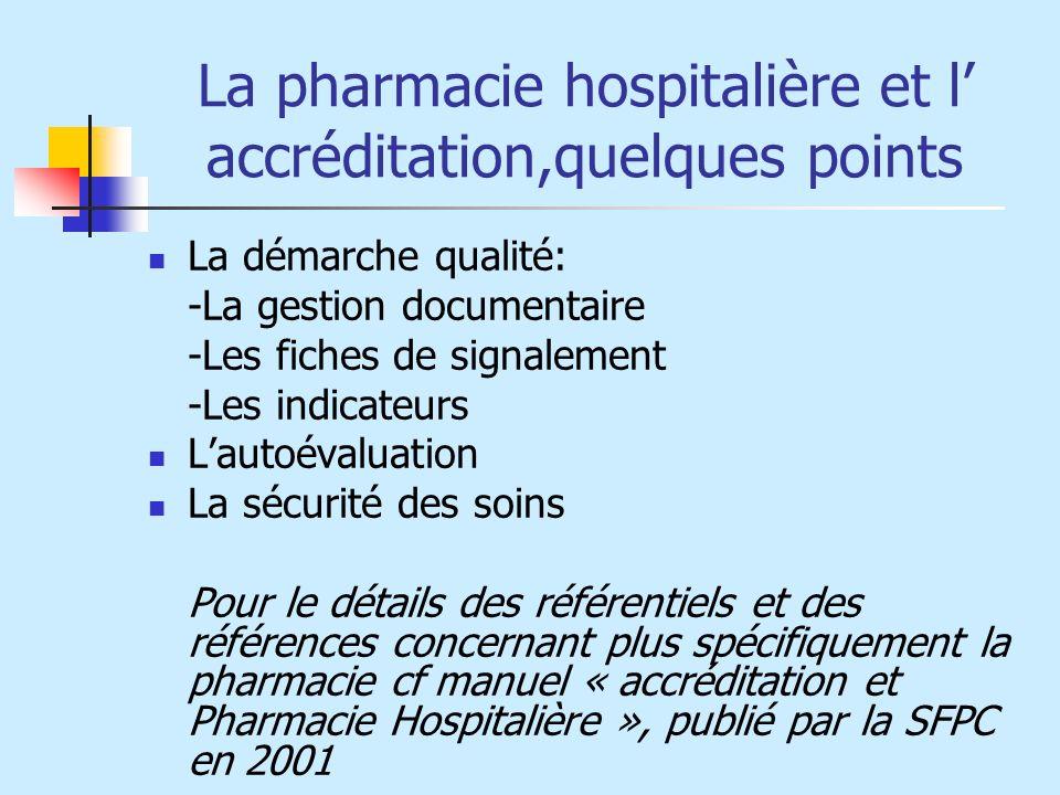 La pharmacie hospitalière et l accréditation,quelques points La démarche qualité: -La gestion documentaire -Les fiches de signalement -Les indicateurs