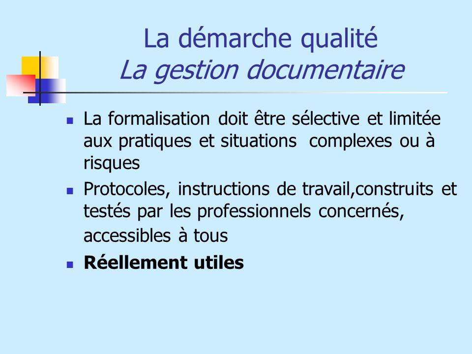 La démarche qualité La gestion documentaire La formalisation doit être sélective et limitée aux pratiques et situations complexes ou à risques Protoco
