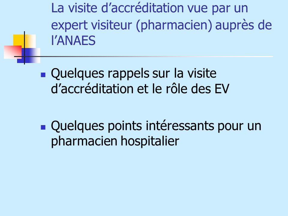 La visite daccréditation vue par un expert visiteur (pharmacien) auprès de lANAES Quelques rappels sur la visite daccréditation et le rôle des EV Quel