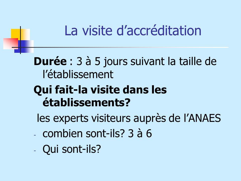 La visite daccréditation Durée : 3 à 5 jours suivant la taille de létablissement Qui fait-la visite dans les établissements? les experts visiteurs aup
