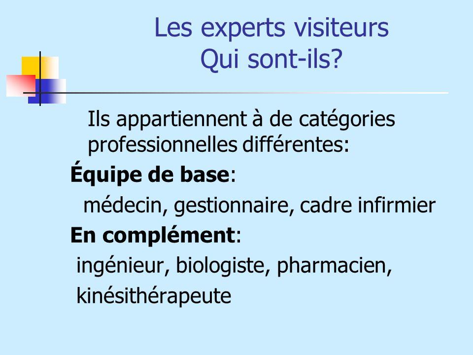 Les experts visiteurs Qui sont-ils? Ils appartiennent à de catégories professionnelles différentes: Équipe de base: médecin, gestionnaire, cadre infir